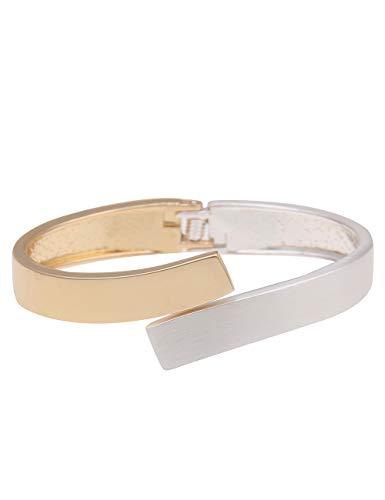 Leslii Damen-Armband Bicolor Armreif zweifarbiges Statement-Armband silbernes Modeschmuck-Armband in Matt Silber Gold