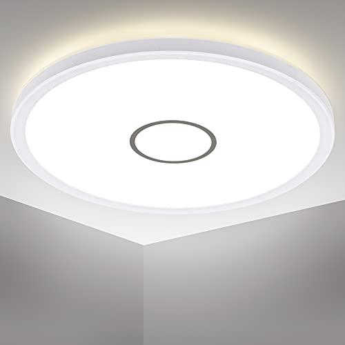 B.K.Licht Plafoniera LED ultra sottile, luce bianca naturale 4000K, 2400 Lm, LED integrati 18W, alta...
