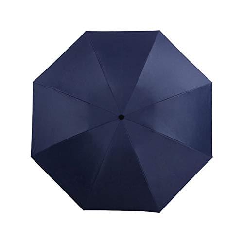 WUHUAROU Paraguas de Revestimiento Negro Totalmente automático Paraguas de Color de Moda Lluvia 3 Parasol de Regalo de Viaje de Coche de Resistencia al Viento Plegable (Color : Navy Blue)
