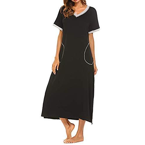 Damen Pyjama Kurzarm Superweiches Pyjamakleid in voller Länge Damen Tasche Langer Rock