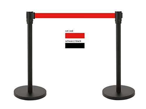 heyChef - 2er-Set | Abgrenzungspfosten Edelstahl lackiert schwarz, Gurtband 200cm rot, VIP Bänder, Abgrenzungs-Ständer oder Personen-Leitsystem, Gurt Abstandshalter