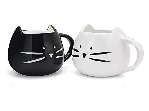 JUNSHUO Taza de Cerámica Gato, Creativa Taza de Cafe, Taza para los Amantes para Café, Leche, Agua, Jugo, Cumpleanos de Navidad, Blanco y Negro