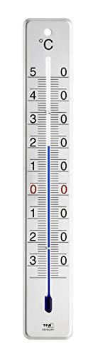 TFA Dostmann Analoges Innen-Außen-Thermometer, Edelstahl glänzend, (L) 45 x (B) 9 x (H) 280 mm