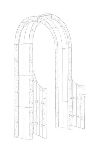 CLP Arche de Jardin avec Portillon Sina - Arceau de Jardin Romantique en Fer Forgé - Support pour Plantes Grimpantes avec Porte Style Shabby-Chic - Couleur :, Couleurs:Blanc