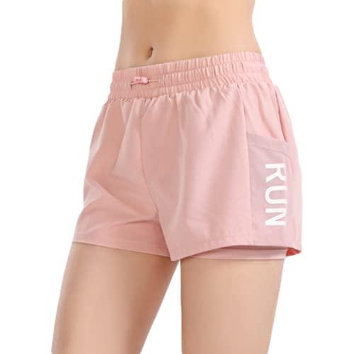 Fainash Pantalones Cortos Deportivos de Cintura elástica para Mujer, Pantalones Cortos de Yoga cómodos Informales con Costuras Ajustadas de Cintura Alta y Cintura Alta L