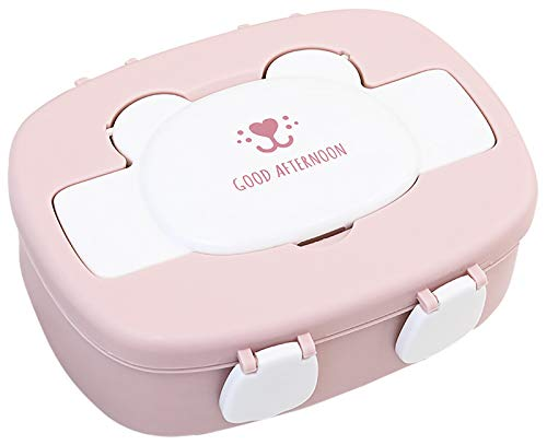Miystn Fiambrera Infantil Compartimentos, Caja Almuerzo Infantile, Fiambrera Niña, Portátil Lunch Box Picnic Contenedor, para Niños y Niñas (1 Pieza, Rosa)