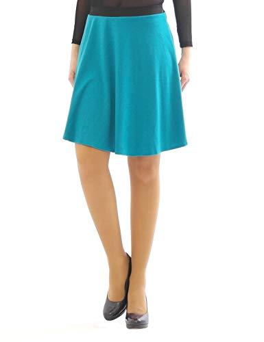 Swing Rock Midi Falten-Rock Gummibund hohe Taille Midirock Skirt Maxi Turkis L-XL