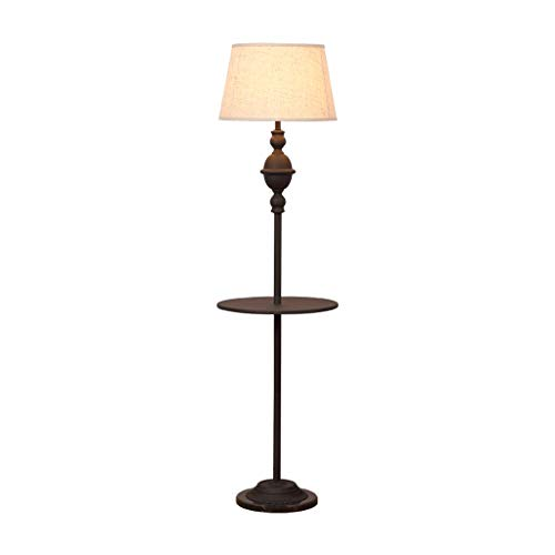 American Style Hierro Forjado Lámpara de pie con Bandeja - Tradicional Hierro lámpara de pie con Pantalla de Tela - Lámparas de pie for Sala de Estar