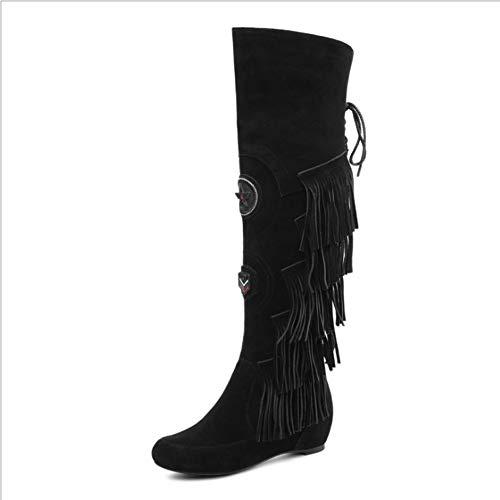 Angelay-Tian Zapatos Bordados, Botas Altas de Cuero, Aumento internamente en Medio del talón con Estilo étnico. Personalidad con Flecos Botas de Moda (Color : A, Size : 34)