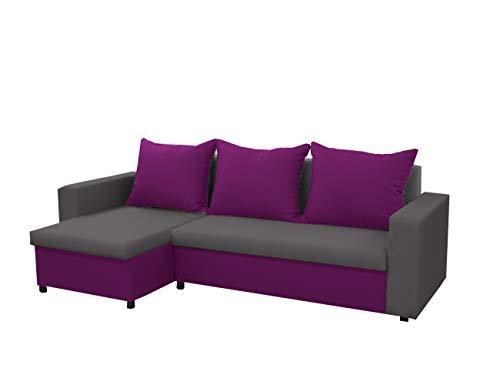 mb-moebel kleines Ecksofa Sofa Eckcouch Couch mit Schlaffunktion und Zwei Bettkasten Ottomane L-Form Schlafsofa Bettsofa Polstergarnitur LARS (Grau + Lila, Ecksofa Links)