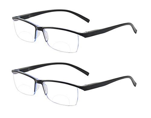 ALWAYSUV Klassische Bifokale Lesebrille Feder Scharnier Anti Blau Lesebrillen Sehhilfe Blaulicht Brille für Damen Herren