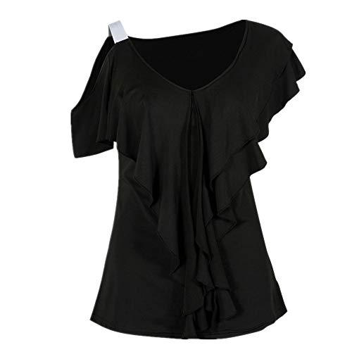 TTJK Damen Sexy Casual Herbstdruck Lose Langarm Rundhals Tops Bluse T-Shirt