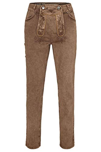 Hangowear Herren Herren Jeans 'Lederhose' lang Hellbraun, Schlamm, 56
