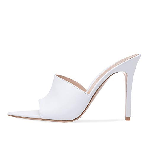 Heeled Sandals Kmart Explosion Models Open Pointed Toe High Classic Sandals Mules Sexy Classic Sandals for WOM White