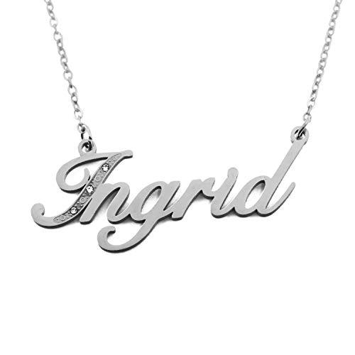 Kigu Ingrid - Collana con nome, personalizzabile, in tonalità argento, personalizzabile
