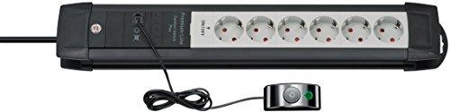 Brennenstuhl Premium-Line Comfort Switch Plus, Steckdosenleiste 6-fach (3m Kabel, externer Schalter und RJ-11-Verbindung, Made in Germany) schwarz/grau