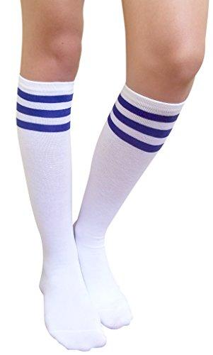 AM Landen Women's Casual White with Three Blue Stripes Knee High Socks Girls socks