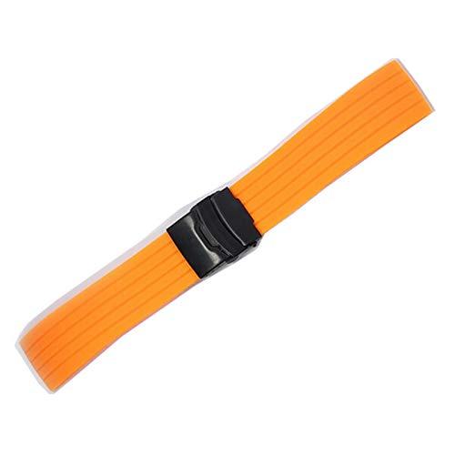 PZZZHF Mesa deportiva de silicona con hebilla plegable de 18 – 24 mm, impermeable, correa de repuesto para hombre, accesorio musical (color: verde plata, ancho de la correa: 22 mm)