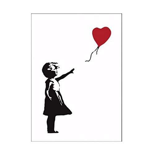Impresiones en Lienzo Pintura de Pared Serie Banksy Decoración de la habitación infantil Niña con globos Ilustraciones Imagen Póster No enmarcado Mural Lienzo de pared Impresiones artísticas , 60x80cm