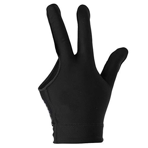 Alomejor Billiard Shooters Guantes Lef Hand 3 Finger Guantes para Hombres Mujeres Uso Unisex con elástico Thicken Hand Wrist(Black)
