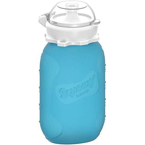 Squeasy Snacker, 180ml - Wiederverwendbares Silikon Quetschie zum selbst befüllen mit u.a. Smoothie, Baby-Brei, Mus oder Joghurt (Blau)