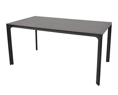 lifestyle4living Gartentisch in grau, Tischplatte Glas in Keramik-Optik, wetterfest, 160x90 cm   Hochwertiger moderner rechteckiger Tisch für 6 Personen
