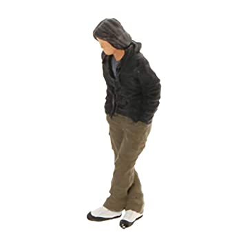 T TOOYFUL People Figures Model Architecture Plastic People Figures Tiny People Stand for Miniature Scenes Scale 1 64 - Black-C