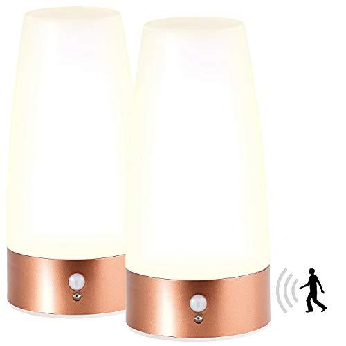 Lunartec Nachtlicht: 2 LED-Tischlampen mit PIR-Bewegungs-Sensor, Batteriebetrieb, warmweiß (Lampe mit Batterie)