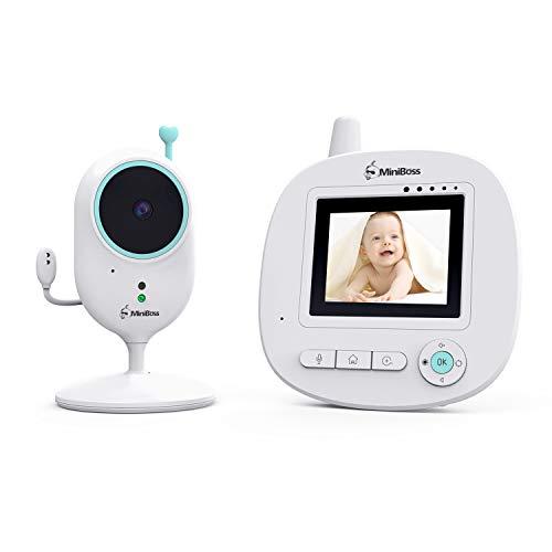MiniBoss Babyphone mit Kamera,Babyphone mit 2,4'LCD Video Audio Digitalkamera Drahtlose Übertragung mit 960 Fuß Reichweite Zwei-Wege-Talk Infrarot Nachtsicht Temperatursensor Schlaflieder ECO-Modus