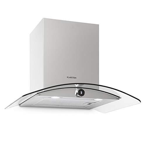 Klarstein Luna extractor de humos de pared – 60 cm, iluminación de la cocina, extracción de 420 m³/h, 3 niveles, control por botón giratorio, clase C, apto para la ventilación, plateado/negro