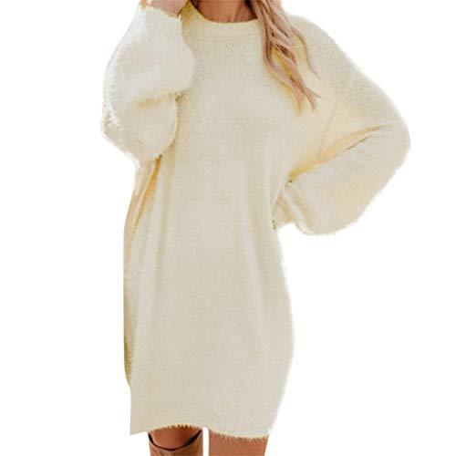 Pulloverkleid für Damen/Dorical Frauen Strickkleid Mit Rundhals Midi-Länge,Einfarbig Pullover Kleid Casual Lose Herbst Sweater Kleid,Pullikleid Strickpullover Kleid S-XXXL(Z1-Beige,XXX-Large)