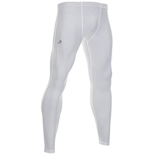 CompressionZ Men's Compression Pants Base Layer Running Tights Gym Leggings (White, S)