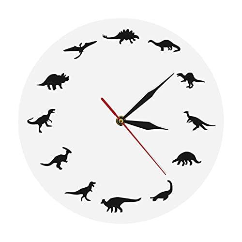 xinxin Reloj de Pared T-Rex Reloj de diseño Minimalista Razas de Dinosaurios Reloj de Pared Moderno Guardería Habitación de niños Decoración de Pared jurásica Reloj Interior de Dinosaurio