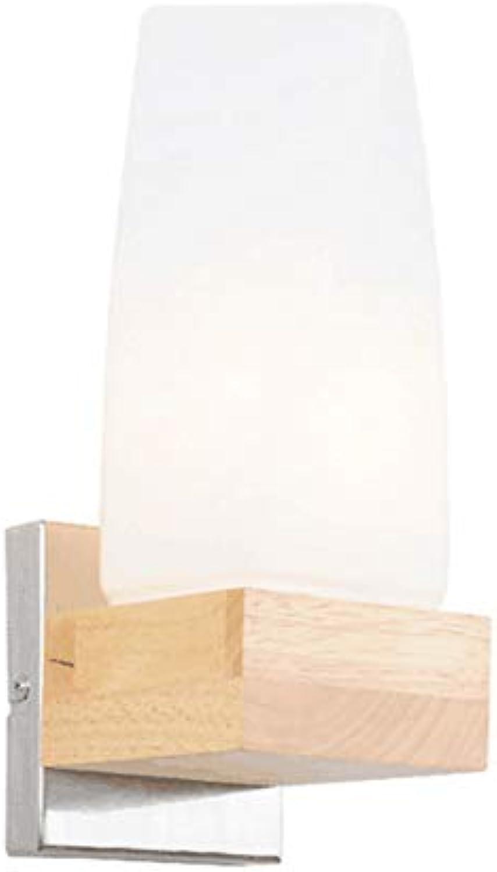Moderne Minimalistische Glas-Massivholzwandlampe Wohnzimmer Schlafzimmer Nachttisch-Balkon Warme Wandlampe 5W Warmes Weies Licht,Weißlightbulb