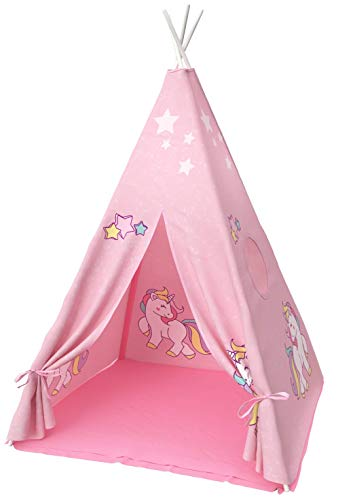 Teepee Tent for Kids | Unicorn Tepee Play Tent Indoor and Outdoor | Tipee Tent for Girls and Boys | Children's Best Tee Pee Playhouse Fort | Carry Case Included | w/ Bonus Unicorn Bracelet (Pink)