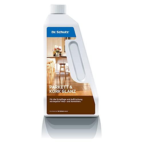 Dr. Schutz Parkett und Kork Glanz 750 ml | bildet glänzenden Pflegefilm | Schutz vor Kratzern & Gehspuren | für alle wasserfest versiegelten Parkettböden & Korkböden | wasserbasiert | Made in Germany