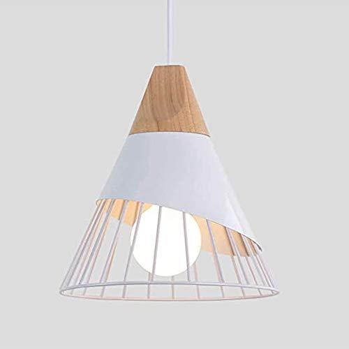 Xindaxin - Lámpara de techo LED moderna simple para cocina, salón, pasillo, lámpara creativa, forma de cono de hierro, jaula E27, longitud 25 cm, altura 30 cm, color blanco