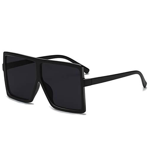 GRFISIA Square Oversized Sunglasses for Women Men Flat Top Fashion Shades (black frame/gray lens, 2.56)
