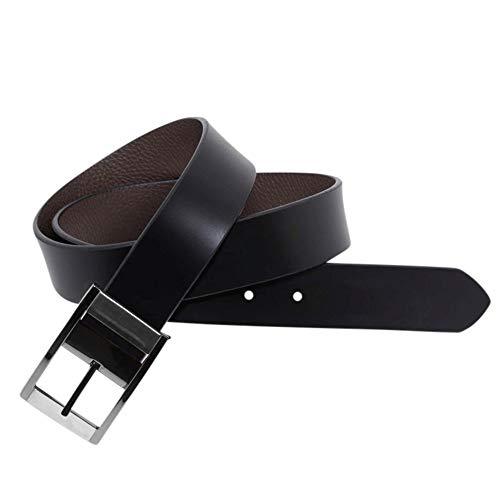 Leyva - Cinturón para hombre reversible de piel vacuno ancho 35 mm...