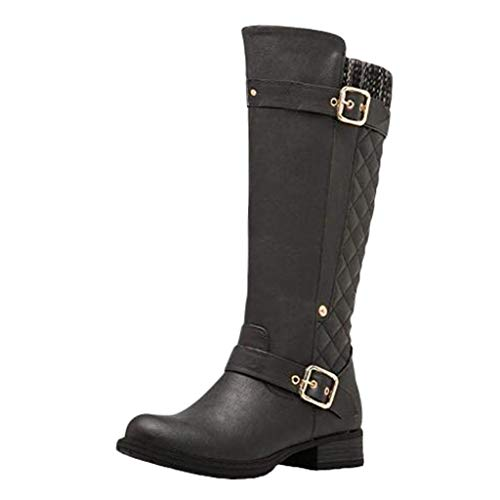 RNUYKE Women's Quilted Round Toe Combat Rider Knee High with Side Pocket Riding Boots Ladies High-Tube Boots