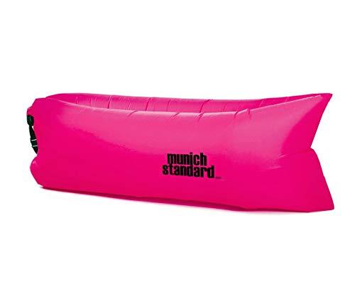 MunichStandard Air Sofa Aufblasbares Sofa Lounge Schlafsack Luftcouch Luft Bett Liegesack Couch Camping Urlaub Strand Liege (Pink)