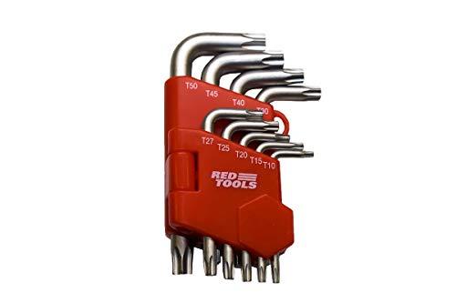 Red Tools Winkelschlüsselsatz Torx 9 tlg. T10, T15, T20, T27, T30, T40, T45, T50 im praktischem Klapphalter, Innensechskantschlüssel, kurze Ausführung, RT20455