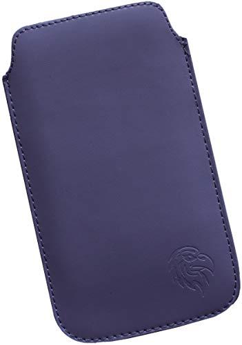 Dealbude24 Schutz Tasche für Motorola One Zoom, Hülle Handy herausziehbar, dünnes Etui genäht mit Rausziehband, innen weiches Microfaser mit exklusiv Adler Motiv XXL Dunkel-Lila