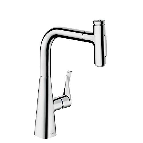 hansgrohe Metris Select Premium 1-Handle 14-inch Tall Kitchen Faucet with Pull Down Sprayer with QuickClean in Chrome, 73817001