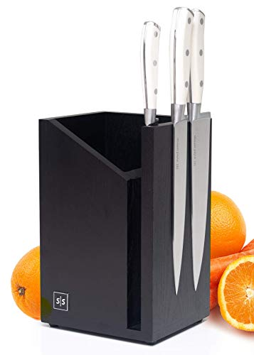 Magnetic Knife Block and Utensil Caddy Black  Dual Purpose Design  Universal Knife Block without Knives and Black Utensil Holder