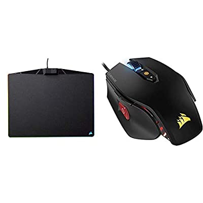 Corsair MM800 RGB Polaris Hard Surface Mousepad - Black & M65 PRO RGB Optical FPS Gaming Mouse - Black