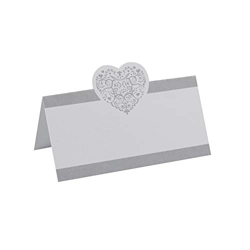 Neviti CSC Imports Juego Vintage Romance–Tarjetas de Mesa para Nombres de comensales, Color Blanco/Plata, Plata, Pack de 50