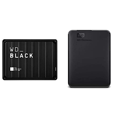 WD_Black 5TB P10 Game Drive, Portable External Hard Drive Compatible with Playstation, Xbox, PC, & Mac - WDBA3A0050BBK-WESN & 2TB WD Elements Portable External Hard Drive, USB 3.0 - WDBU6Y0020BBK-WESN