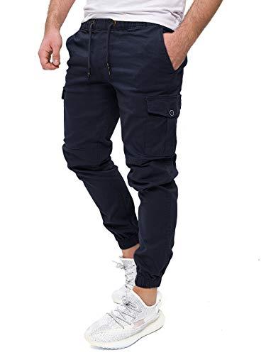 PITTMAN Männer Cargo Hosen Stretch Darius - by Pit Jeans Herren Chino Hose Slim Fit Cargohose - Jogginghose Blaue Pants, Blau (Sky 193922), W33/L32