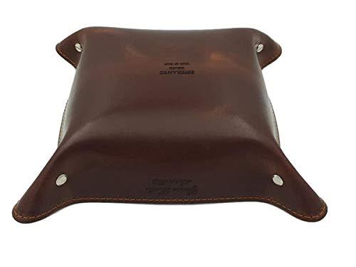 Taschenleerer aus echtem Leder mit echtem Veloursleder Interieur - 6 Farben, Made in Italy (Schokolade)